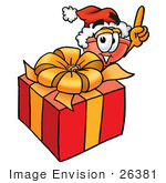 #26381 Clip Art Graphic of a Plumbing Toilet or Sink Plunger Cartoon Character Standing by a Christmas Present by toons4biz