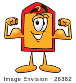 #26382 Clip Art Graphic Of A Red And Yellow Sales Price Tag Cartoon Character Flexing His Arm Muscles