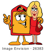 #26383 Clip Art Graphic Of A Red And Yellow Sales Price Tag Cartoon Character Talking To A Pretty Blond Woman