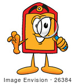 #26384 Clip Art Graphic Of A Red And Yellow Sales Price Tag Cartoon Character Looking Through A Magnifying Glass