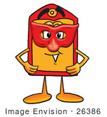 #26386 Clip Art Graphic Of A Red And Yellow Sales Price Tag Cartoon Character Wearing A Red Mask Over His Face