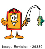 #26389 Clip Art Graphic Of A Red And Yellow Sales Price Tag Cartoon Character Holding A Fish On A Fishing Pole