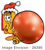 #26390 Clip Art Graphic Of A Red And Yellow Sales Price Tag Cartoon Character Wearing A Santa Hat Standing With A Christmas Bauble