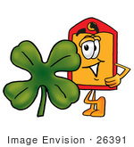 #26391 Clip Art Graphic Of A Red And Yellow Sales Price Tag Cartoon Character With A Green Four Leaf Clover On St Paddy'S Or St Patricks Day