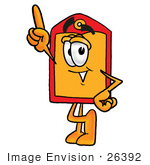 #26392 Clip Art Graphic Of A Red And Yellow Sales Price Tag Cartoon Character Pointing Upwards