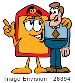 #26394 Clip Art Graphic Of A Red And Yellow Sales Price Tag Cartoon Character Talking To A Business Man