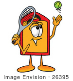 #26395 Clip Art Graphic Of A Red And Yellow Sales Price Tag Cartoon Character Preparing To Hit A Tennis Ball