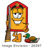 #26397 Clip Art Graphic Of A Red And Yellow Sales Price Tag Cartoon Character Duck Hunting Standing With A Rifle And Duck