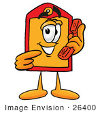 #26400 Clip Art Graphic Of A Red And Yellow Sales Price Tag Cartoon Character Holding A Telephone