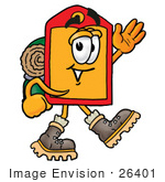 #26401 Clip Art Graphic Of A Red And Yellow Sales Price Tag Cartoon Character Hiking And Carrying A Backpack
