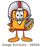 #26404 Clip Art Graphic Of A Red And Yellow Sales Price Tag Cartoon Character In A Helmet Holding A Football
