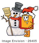 #26405 Clip Art Graphic Of A Red And Yellow Sales Price Tag Cartoon Character With A Snowman On Christmas