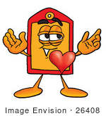 #26408 Clip Art Graphic Of A Red And Yellow Sales Price Tag Cartoon Character With His Heart Beating Out Of His Chest