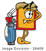 #26409 Clip Art Graphic Of A Red And Yellow Sales Price Tag Cartoon Character Swinging His Golf Club While Golfing