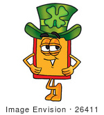#26411 Clip Art Graphic Of A Red And Yellow Sales Price Tag Cartoon Character Wearing A Saint Patricks Day Hat With A Clover On It