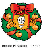 #26414 Clip Art Graphic Of A Red And Yellow Sales Price Tag Cartoon Character In The Center Of A Christmas Wreath