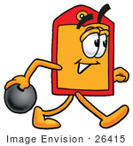 #26415 Clip Art Graphic Of A Red And Yellow Sales Price Tag Cartoon Character Holding A Bowling Ball