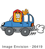#26419 Clip Art Graphic Of A Red And Yellow Sales Price Tag Cartoon Character Driving A Blue Car And Waving