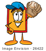 #26422 Clip Art Graphic Of A Red And Yellow Sales Price Tag Cartoon Character Catching A Baseball With A Glove