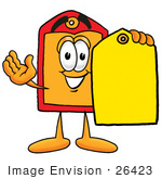 #26423 Clip Art Graphic of a Red and Yellow Sales Price Tag Cartoon Character Holding a Yellow Sales Price Tag by toons4biz