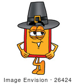 #26424 Clip Art Graphic Of A Red And Yellow Sales Price Tag Cartoon Character Wearing A Pilgrim Hat On Thanksgiving