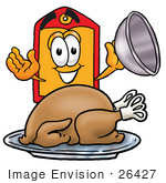 #26427 Clip Art Graphic Of A Red And Yellow Sales Price Tag Cartoon Character Serving A Thanksgiving Turkey On A Platter