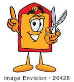 #26428 Clip Art Graphic Of A Red And Yellow Sales Price Tag Cartoon Character Holding A Pair Of Scissors