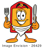 #26429 Clip Art Graphic Of A Red And Yellow Sales Price Tag Cartoon Character Holding A Knife And Fork
