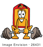 #26431 Clip Art Graphic Of A Red And Yellow Sales Price Tag Cartoon Character Lifting A Heavy Barbell