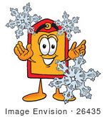 #26435 Clip Art Graphic Of A Red And Yellow Sales Price Tag Cartoon Character With Three Snowflakes In Winter