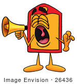 #26436 Clip Art Graphic Of A Red And Yellow Sales Price Tag Cartoon Character Screaming Into A Megaphone
