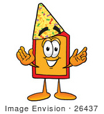 #26437 Clip Art Graphic Of A Red And Yellow Sales Price Tag Cartoon Character Wearing A Birthday Party Hat