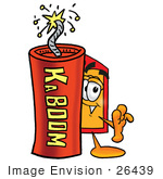 #26439 Clip Art Graphic Of A Red And Yellow Sales Price Tag Cartoon Character Standing With A Lit Stick Of Dynamite