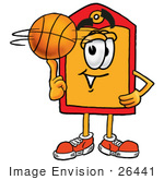 #26441 Clip Art Graphic Of A Red And Yellow Sales Price Tag Cartoon Character Spinning A Basketball On His Finger