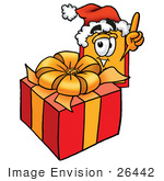 #26442 Clip Art Graphic Of A Red And Yellow Sales Price Tag Cartoon Character Standing By A Christmas Present