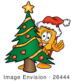 #26444 Clip Art Graphic Of A Red And Yellow Sales Price Tag Cartoon Character Waving And Standing By A Decorated Christmas Tree