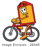 #26445 Clip Art Graphic Of A Red And Yellow Sales Price Tag Cartoon Character Riding A Bicycle