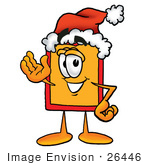 #26446 Clip Art Graphic Of A Red And Yellow Sales Price Tag Cartoon Character Wearing A Santa Hat And Waving