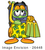 #26448 Clip Art Graphic Of A Suitcase Luggage Cartoon Character In Green And Yellow Snorkel Gear
