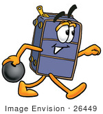 #26449 Clip Art Graphic Of A Suitcase Luggage Cartoon Character Holding A Bowling Ball