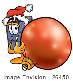 #26450 Clip Art Graphic Of A Suitcase Luggage Cartoon Character Wearing A Santa Hat Standing With A Christmas Bauble