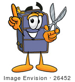#26452 Clip Art Graphic Of A Suitcase Luggage Cartoon Character Holding A Pair Of Scissors