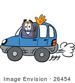 #26454 Clip Art Graphic Of A Suitcase Luggage Cartoon Character Driving A Blue Car And Waving