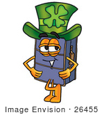 #26455 Clip Art Graphic Of A Suitcase Luggage Cartoon Character Wearing A Saint Patricks Day Hat With A Clover On It