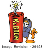#26458 Clip Art Graphic Of A Suitcase Luggage Cartoon Character Standing With A Lit Stick Of Dynamite