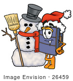 #26459 Clip Art Graphic Of A Suitcase Luggage Cartoon Character With A Snowman On Christmas