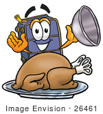 #26461 Clip Art Graphic Of A Suitcase Luggage Cartoon Character Serving A Thanksgiving Turkey On A Platter