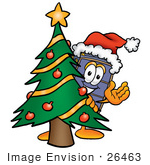 #26463 Clip Art Graphic Of A Suitcase Luggage Cartoon Character Waving And Standing By A Decorated Christmas Tree