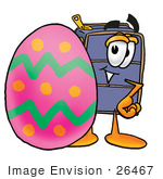 #26467 Clip Art Graphic Of A Suitcase Luggage Cartoon Character Standing Beside An Easter Egg