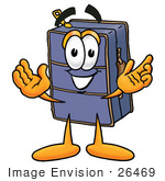 #26469 Clip Art Graphic of a Suitcase Luggage Cartoon Character With Welcoming Open Arms by toons4biz